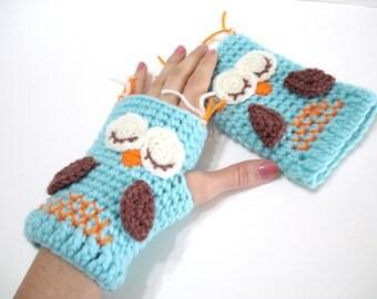 Crochet Pattern, Gloves Pattern, Owl Gloves Pattern, Tutorial, Crochet Tutorial, Owl Gloves