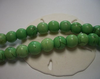 Magnesite beads, round, 8mm beads, spring green, 8mm gemstone beads, green magnesite beads, full strand, 8mm beads, Magnesite, leaf green