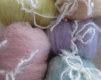 pastel colors soft wool batts hand dyed and carded