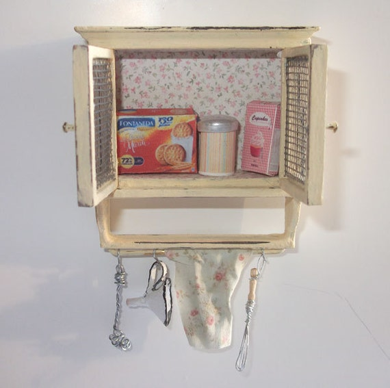 Dollhouse vintage style kitchen cabinet, scale 1/12