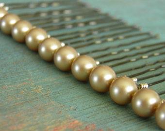 12 Vintage Gold 8mm Swarovski Crystal Pearl Hair Pins