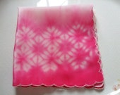 Silk Pocket Square Tie Dye Dark Pink Handkerchief