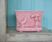 Pink Planter Vintage Pair of Birds
