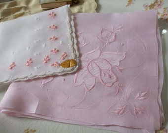 Hankies Set of Two Pink White Lily of the Valley Embroidered Applique Handkerchiefs