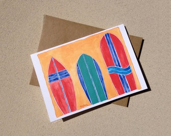 """Surf Notecards - Colorful Surfboard Collection - Set of Eight (3 1/2"""" X 5"""")"""