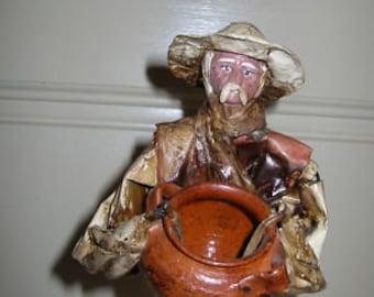 Folk Art Paper Mache Old Man Sculpture