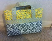 LDS Scripture Tote in Coordinating Grey, White, Navy Blue and Yellow Fabrics