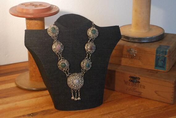 Silver Tone Necklace - Colored Stones - Southwestern - 80's - Native American