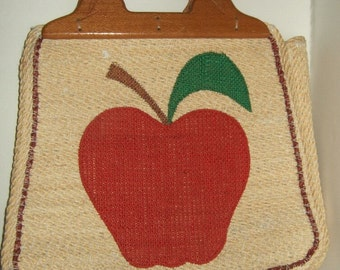 Vintage wood handled rope handbag hand woven hemp handbag jute handbag purse tote wooden handled hemp purse apple diaper craft bag hemp bag