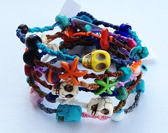 Set of 3 Surf Braided Bracelets -with a Skull or starfish and evil eye