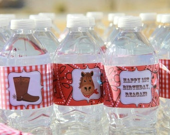Cowgirl Water Bottle Labels - red | Cowgirl Water Bottle Wrappers | Cowgirl Drink Labels | Western Birthday Party Printables
