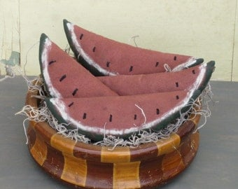 Primitive Grungy Watermelon Bowl Fillers - Set of 4 - Ornies - Tucks - Home Decor - Fabric