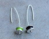 Silver Reel Earrings, lime and black enamel