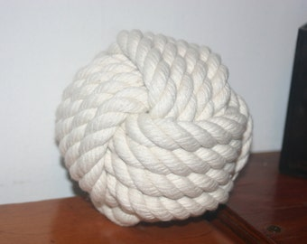 Cotton Rope Hand-knotted  Monkey Fist Off White Nautical Decor or Weddings Table Holders Bookend Door Stop