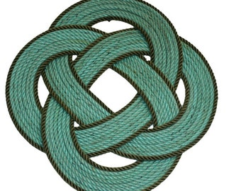 """Celtic Knotted Rope Mat Rug Wall Hanging or Trivet 16 """" St. Patty's  All materials are Recycled Up-cycled."""