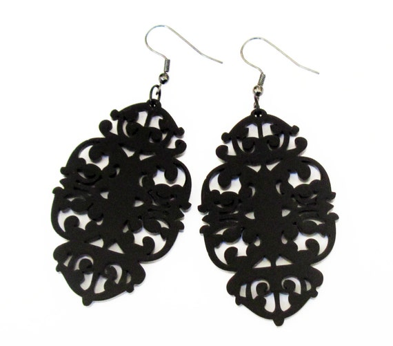 Victorian Lace Statement Earrings - Elegant Jewelry -  Black Jewley - Laser Cut Acrylic - Perspex jewelry