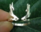 Sterling Silver Deer Antler Ring - Winter, Antumn, Rudolph, Deer Horn, Stag, Reindeer, Christmas