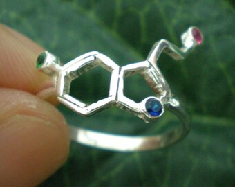 Science Serotonin Molecule Silver Ring - Chemistry Geek Nerd Atomic Molecular Model Psychology Ring