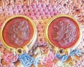 Vintage Roman Style Gold Clip Earrings - V-EAR-526 - Unique Earring - ROMAN Earrings