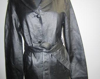 Black leather car coat with self belt