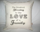 OOAK Vintage Designer White Cotton Canvas and Natural Burlap 16x16 Pillow Cover Greatest Blessing LOVE of FAMILY Word Quote