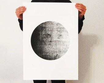 Big Screen-Print  Poster,50 x 70 poster, moon poster, screen print, minimalist, wall art, skandinavian art, hand made poster, A1 poster