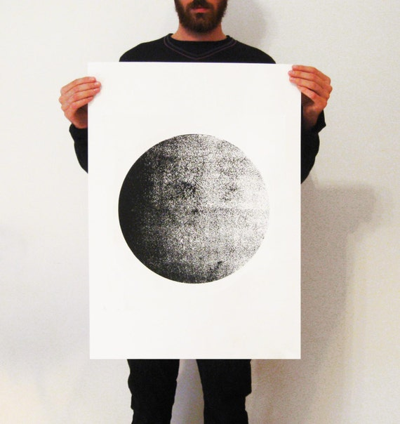 screen print poster50 x 70 poster moon poster moonart. Black Bedroom Furniture Sets. Home Design Ideas