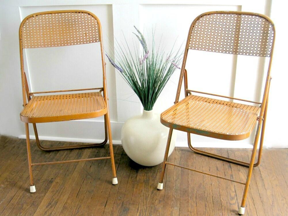 Mid Century Metal Folding Chairs Orange Bistro Chairs