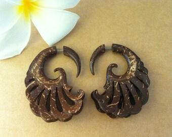 3D Wing Earrings - Wood Earrings Fake Piercing - Angel Bird Wing Earrings