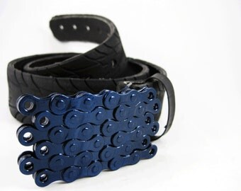 Recycled Bike Chain Belt Buckle- Flat- Iridescent Blue Finish