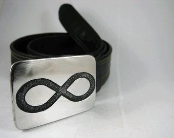 Infinite Belt Buckle - Etched Stainless Steel - Handmade