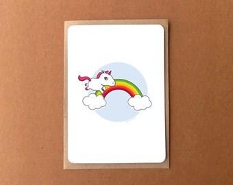 Greeting card for her - Rainbow unicorn