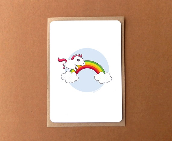 Greeting card for her - Rainbow unicorn