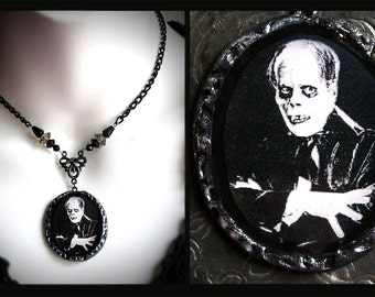 The Phantom of the Opera, Lon Chaney polymer clay pendant, black, grey, glass beads, pearls, rose, horror, silent film, actor, gothic, dark