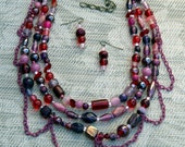 Necklace & Earrings Multistrand Beaded Necklace Handmade Gift for Her Wildberry Chunky Statement