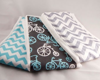 Burp Cloth Set - Teal and Gray, Bicycle, Gray Chevron, Teal Chevron - Baby Shower Gift