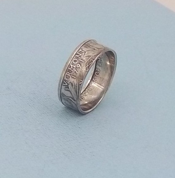 silver coin ring vermont state quarter year 2001 size 8 90