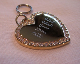 Pet ID Tag-Fancy Heart With Crystals ( gold or silver finish)
