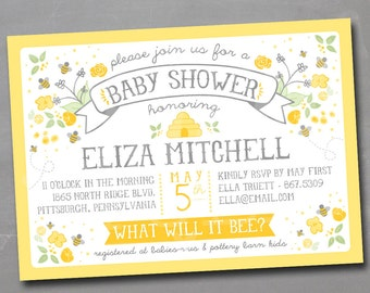 What Will it Bee Honeybee Bumble Bee DIY Printable Gender Reveal or Baby Shower or Birthday Party Invitation