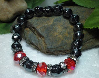 FREE SHIPPING! Hematite And Red Crystal Bracelet