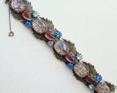 Rare 1950-60 Florenza Bracelet Confetti Lucite Easter Egg Blue Rhinestone Signed