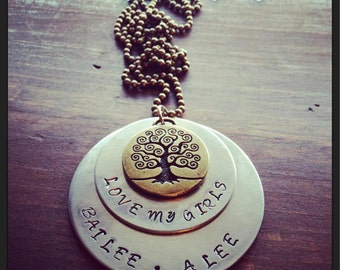 Hand Stamped Brass and Silver Necklace with Love my Girls, Boys, Grands Childrens' Names