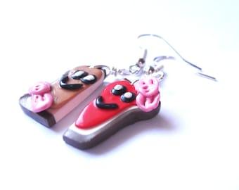 Toast Earrings Kawaii Jewelry ( peanut butter jelly toast polymer clay mini food food earrings miniature food mini food earrings toasts )