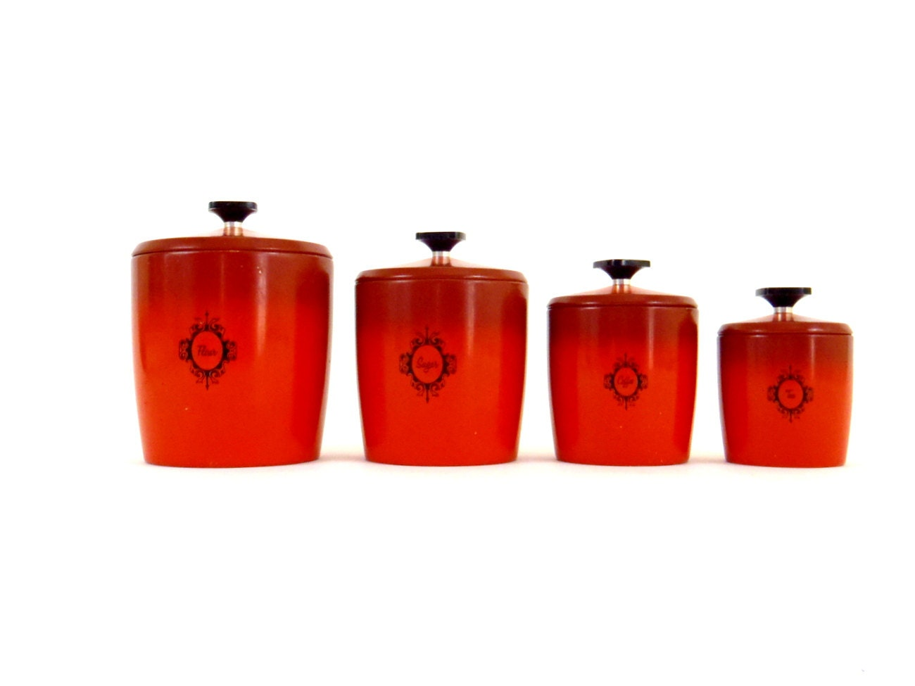 Kitchen canister set red kitchen jar set metal canister set for Kitchen set red