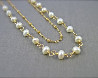 June Birthstone Pearl Necklace in 14K Gold Fill, Double Strand Wire Wrapped Pearl Necklace with Satellite Chain, Bridal Necklace