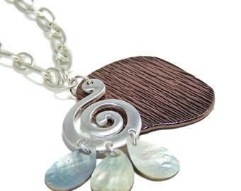 1/2 Price SALE Seaside Necklace Copper Brown and Abilone Shell Pendant