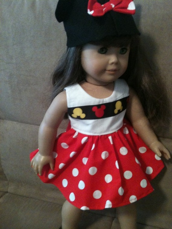 18 inch Doll (modeled by American Girl)  Minnie Mouse dress and ears