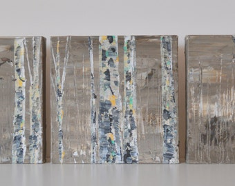 Made To Order-Choose Size-Choose Color-Modern Neutral Aspen Birch Tree Original Art