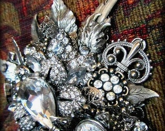 Statement Necklace-Vintage Collage Assembladge-Vintage Crystal Jewelry,Swarovski Crystals,Antique Silver and Crystals