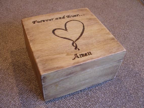 Vintage Looking Hand Burned Personalized  Ringbearers/Keepsake  Box....Rustic Wedding....Jewelry
